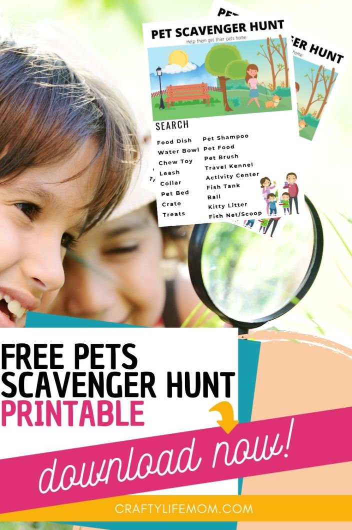 Have fun with your kids with this Free Pets Printable Scavenger Hunt and your pet searching for all the things related to pets. Take it with you in the car while running errands or use inside your home. Either way this printable is sure to be a fun win with your kids. #freeprintable #kids #pets #scavengerhunt