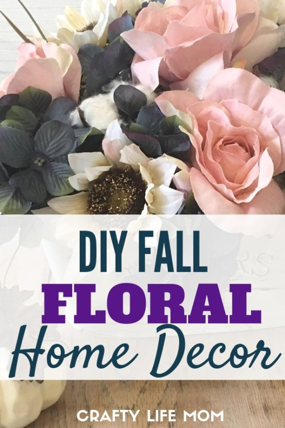 DIY Fall Floral Home Decor using items and floral picks mostly from the Dollar Tree. Re-create the beautiful flower arrangement for your home this fall. #dollartreeDIY #falldecor #fallhometour #fall