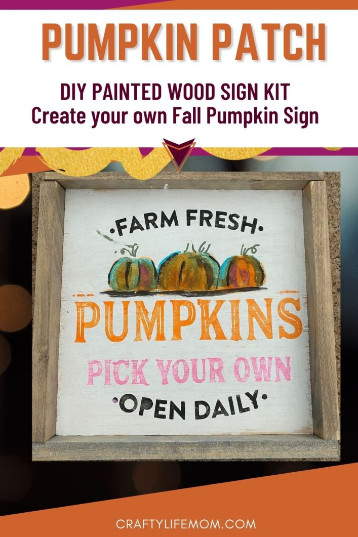 Create this Pick Your Pumpkin Patch Sign to complete your Fall home decor look with this simple DIY kit. This kit includes everything you need to make this Pumpkin Patch sign on your own.  #diystencil #craftkits #fallhomedecor #diyhomedecor #diyfalldecor