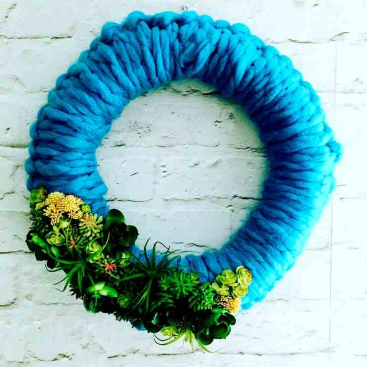 Yarn and Succulent Wreath Tutorial
