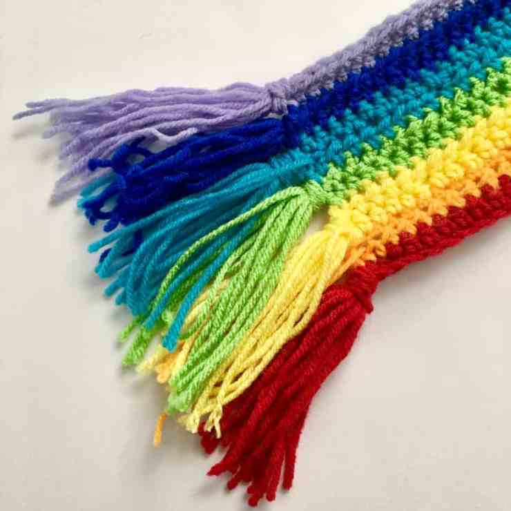 Rainbow Crochet Scarf Tutorial