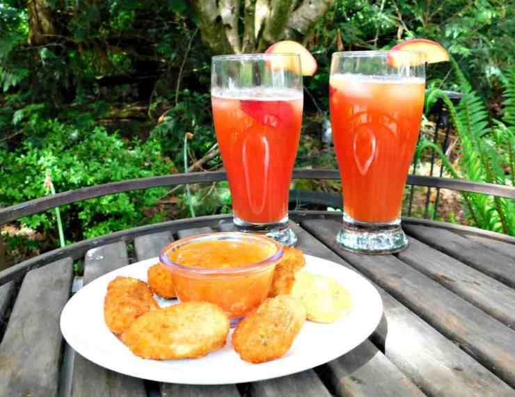 Peach Michelada Summer Drink Recipe and Salsa Cheese Dip Pairing