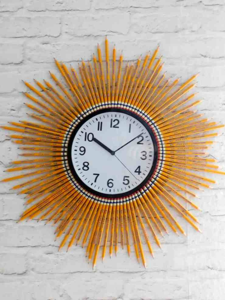 Back to School Sunburst Clock with Pencils