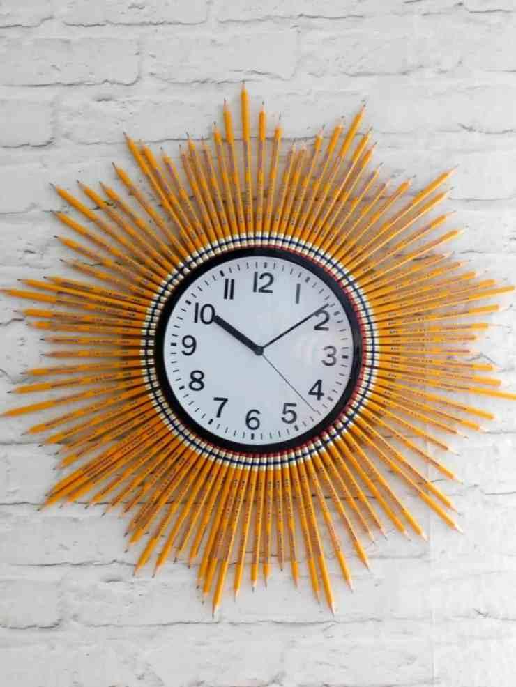 Back to School Sunburst Clock with Pencils