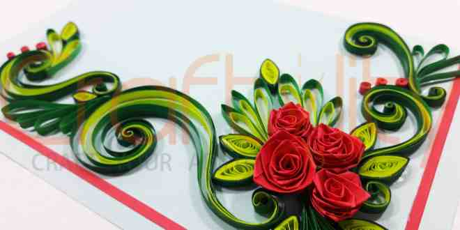Paper Quilling Rose Card