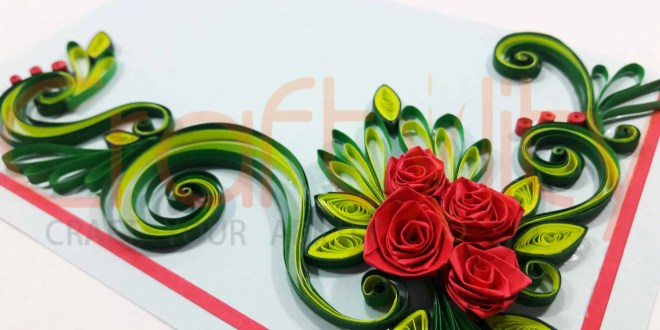 How to make paper quilling rose card craftylity paper quilling rose card mightylinksfo