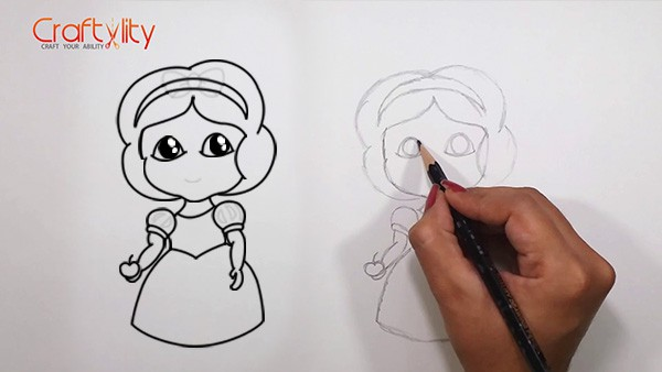 How to draw cute little Snow White - 12