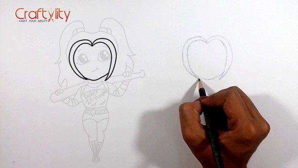How to draw cute little Harley Quinn - 02