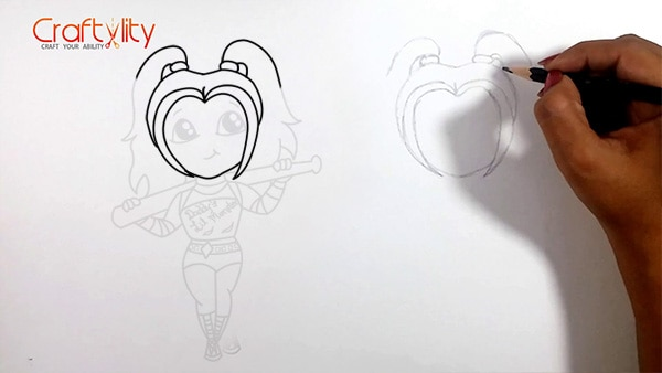 How to draw cute little Harley Quinn - 04