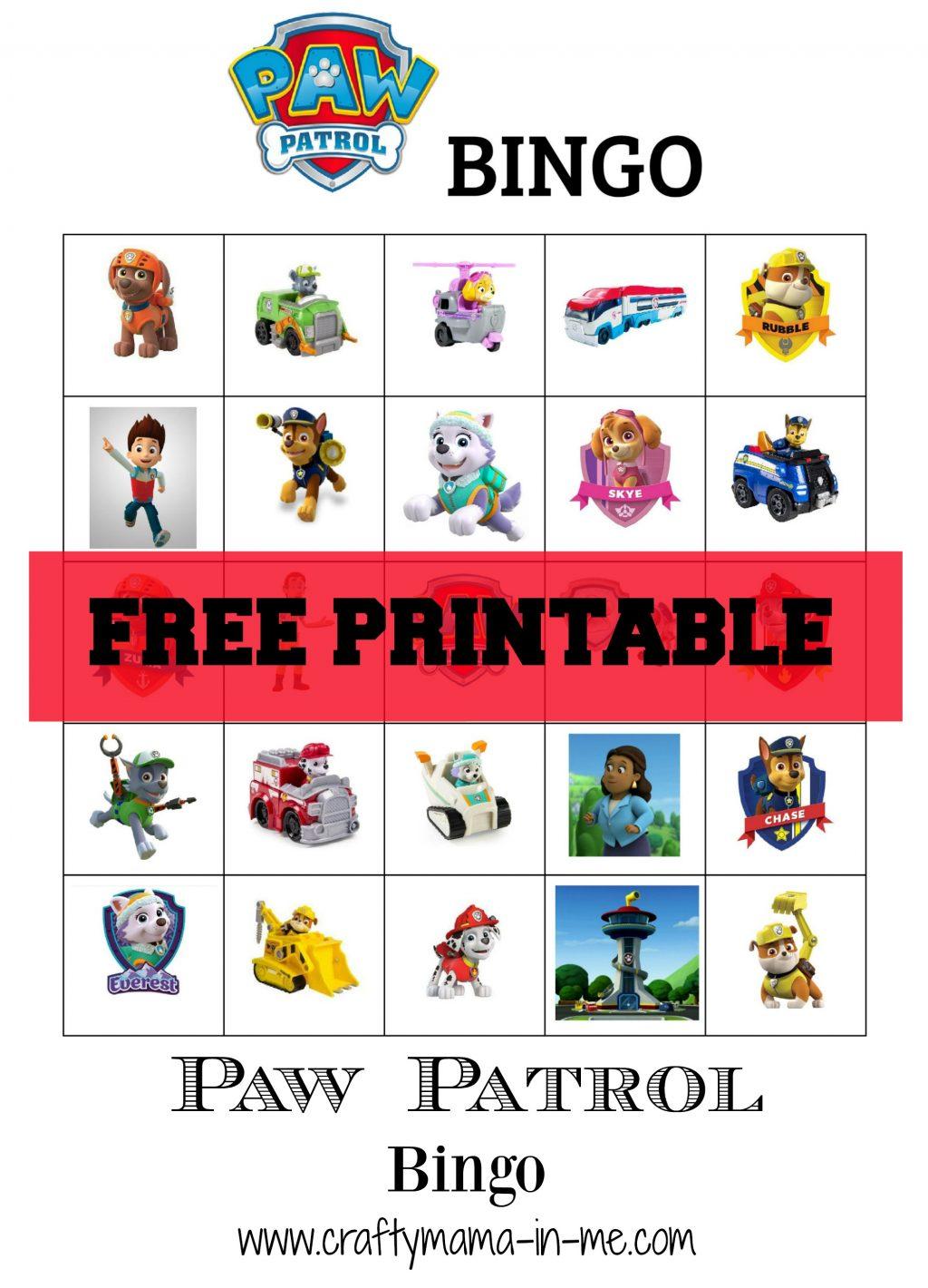 Free Printable Paw Patrol Bingo