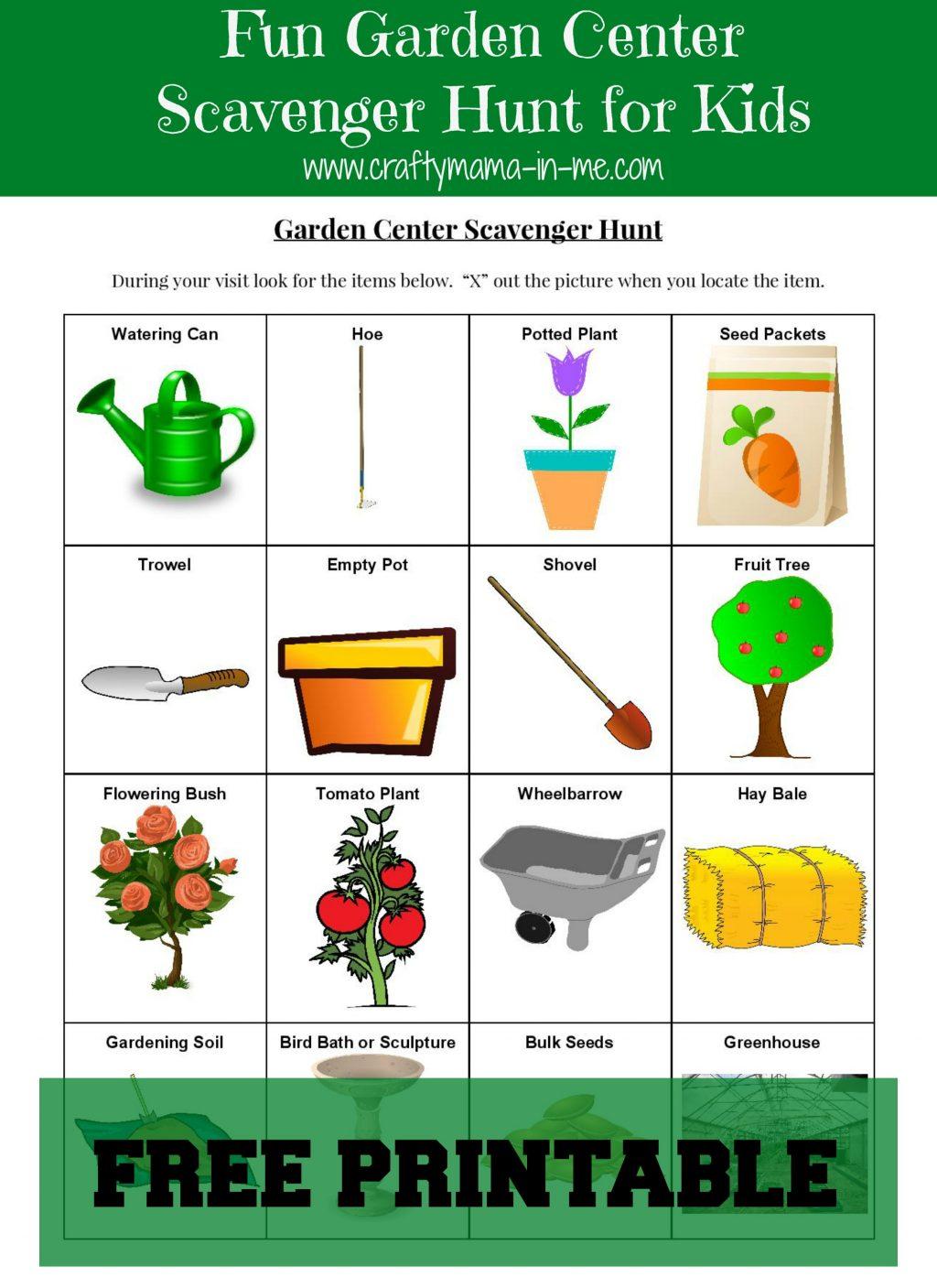 Garden Scavenger Hunt Worksheet