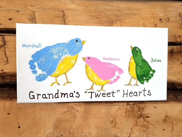 Grandmas Tweet Hearts Kids Footprint Canvas Crafty