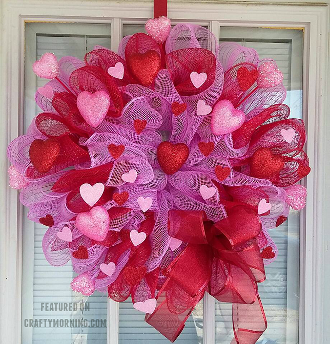 How To Make A Deco Mesh Valentine Wreath Crafty Morning