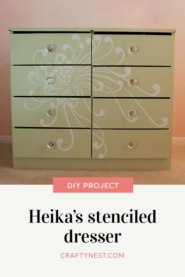 Crafty Nest Heika's stenciled dresser Pinterest image