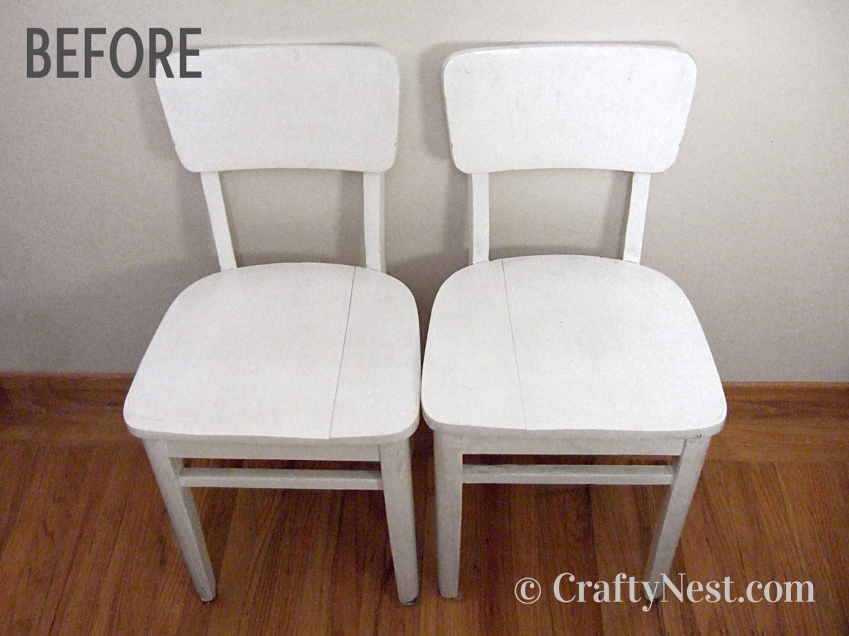 Two wite dining chairs before their makeover, photo