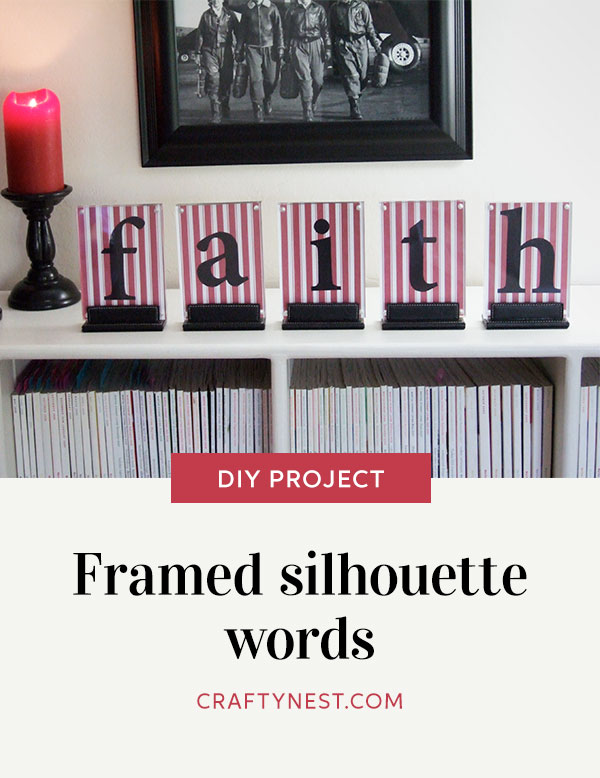 Crafty Nest framed silhouette words Pinterest image