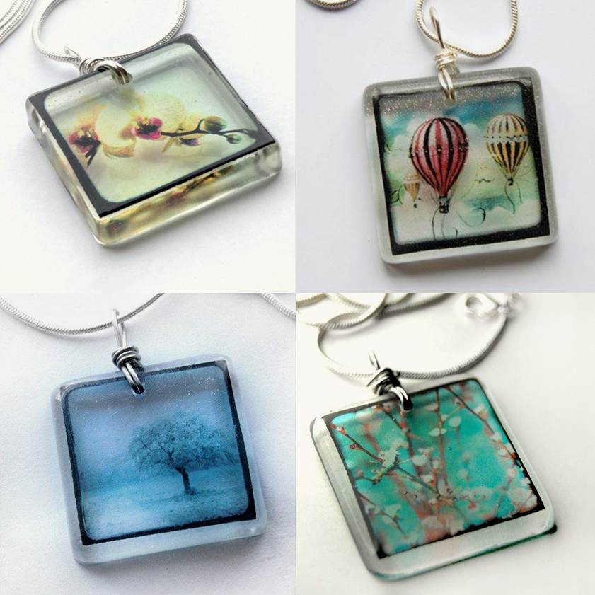 Photo necklaces made by Bethtastic, photo