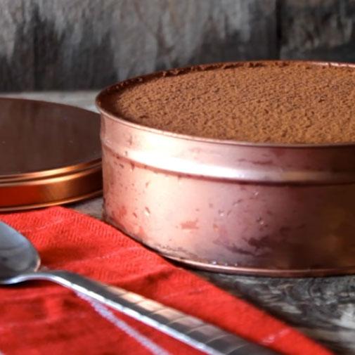 Chocolate cake in a tin, photo
