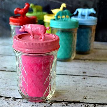 DIY playdough in animal mason jars, photo