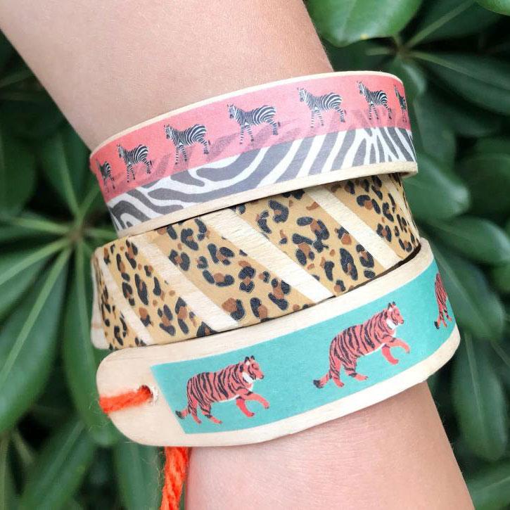 Craft-stick washi-tape bracelets, photo