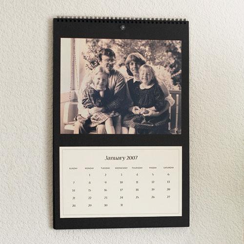 DIY calendar with sepia-toned photo