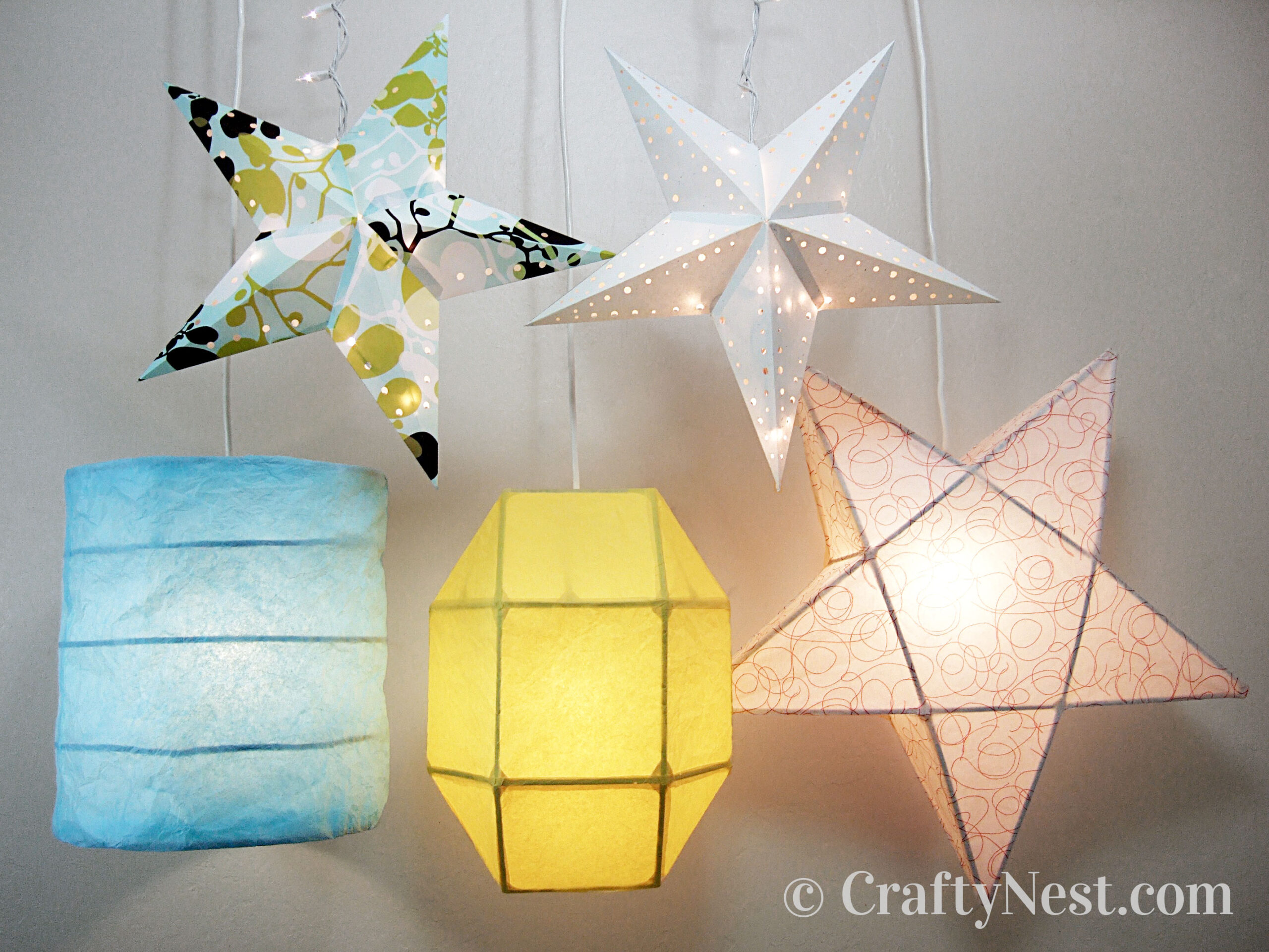 Handmade paper lanterns of different shapes, photo