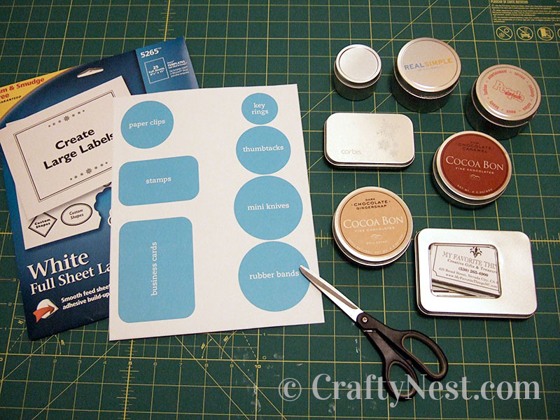 Supplies to make magnetic tins, photo