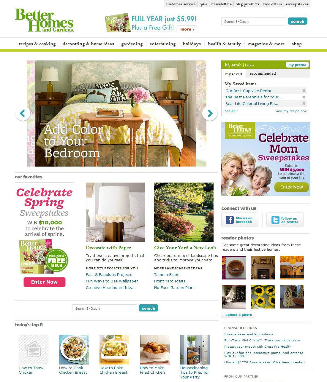 Better Homes & Gardens website, screenshot
