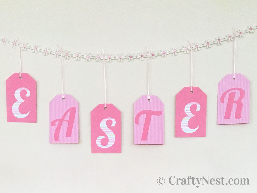 Easter garland hanging on the wall, photo
