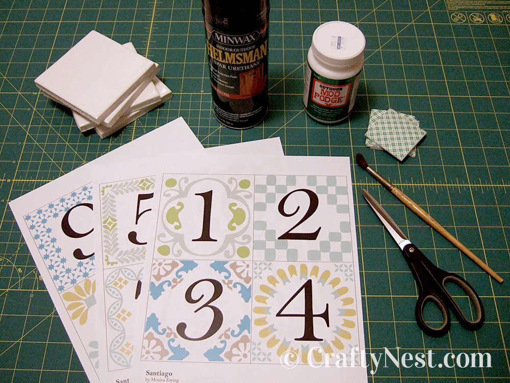 Supplies for making the house number tiles, photo