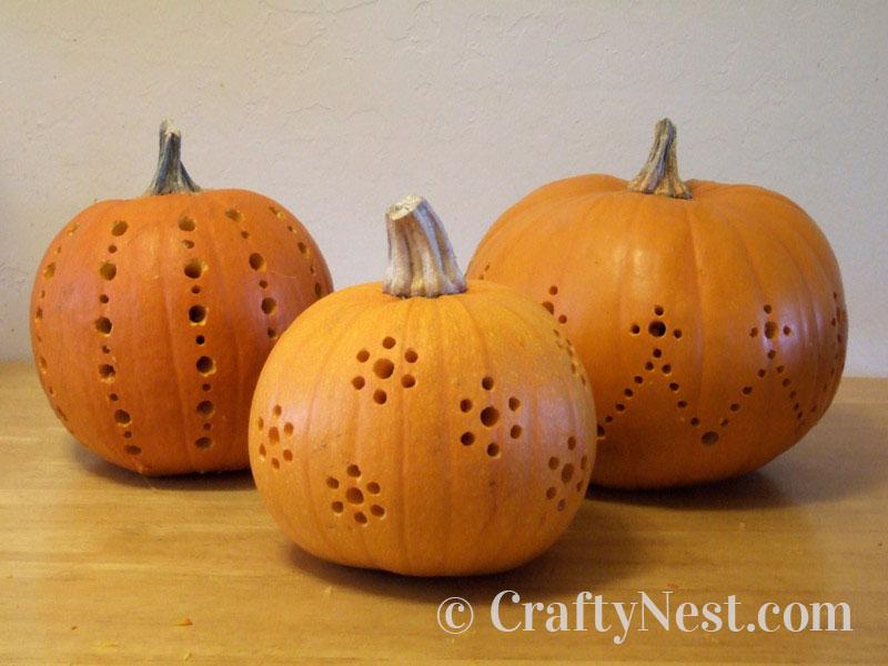 All three pumpkins drilled, photo