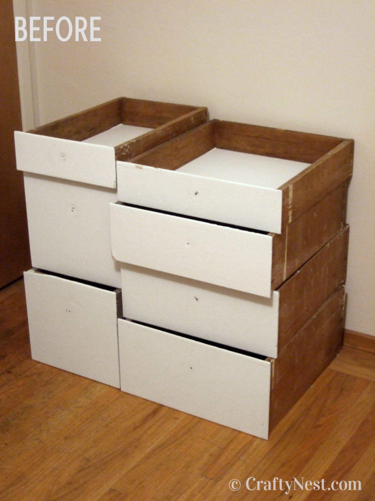 Salvaged drawers, before photo