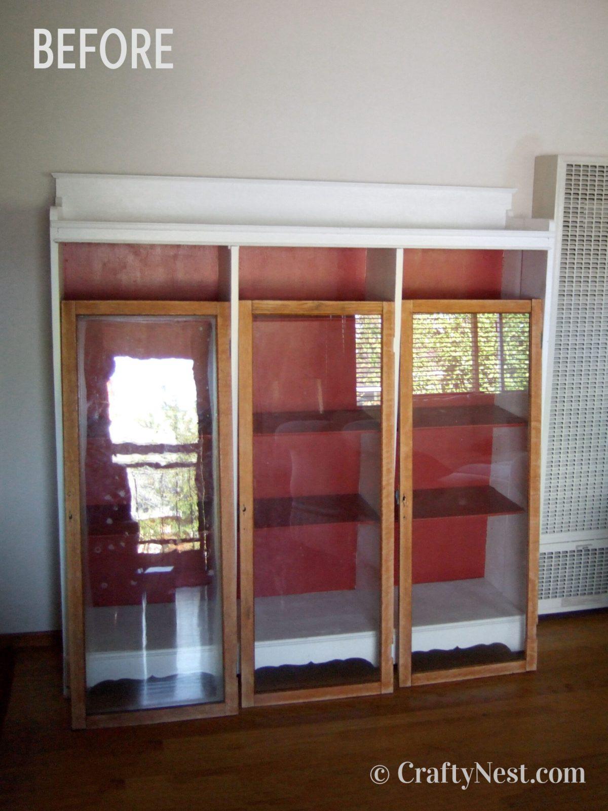 Bookshelf doors before, photo