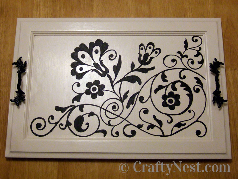 Finished cupboard door serving tray, photo