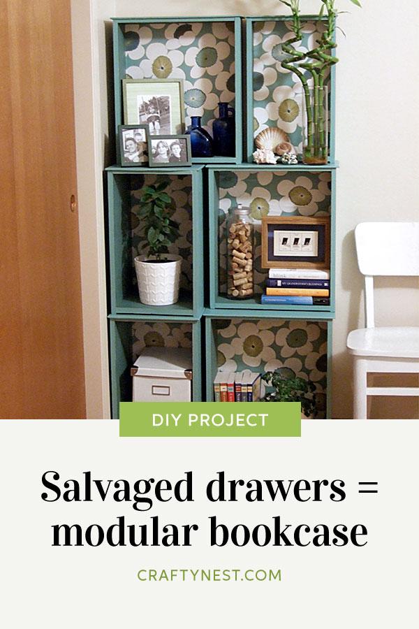 Crafty Nest salvaged drawers modular bookcase Pinterest image