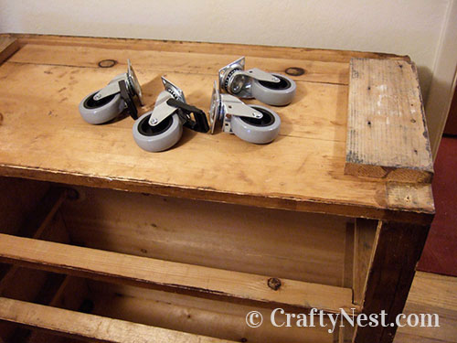 Bottom of dresser with casters, photo