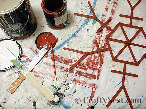 Painting the craft-stick snowflakes, photo