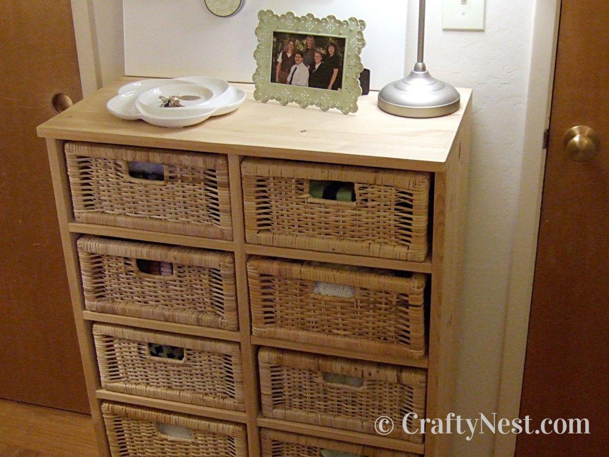 DIY dresser with basket drawers, photo