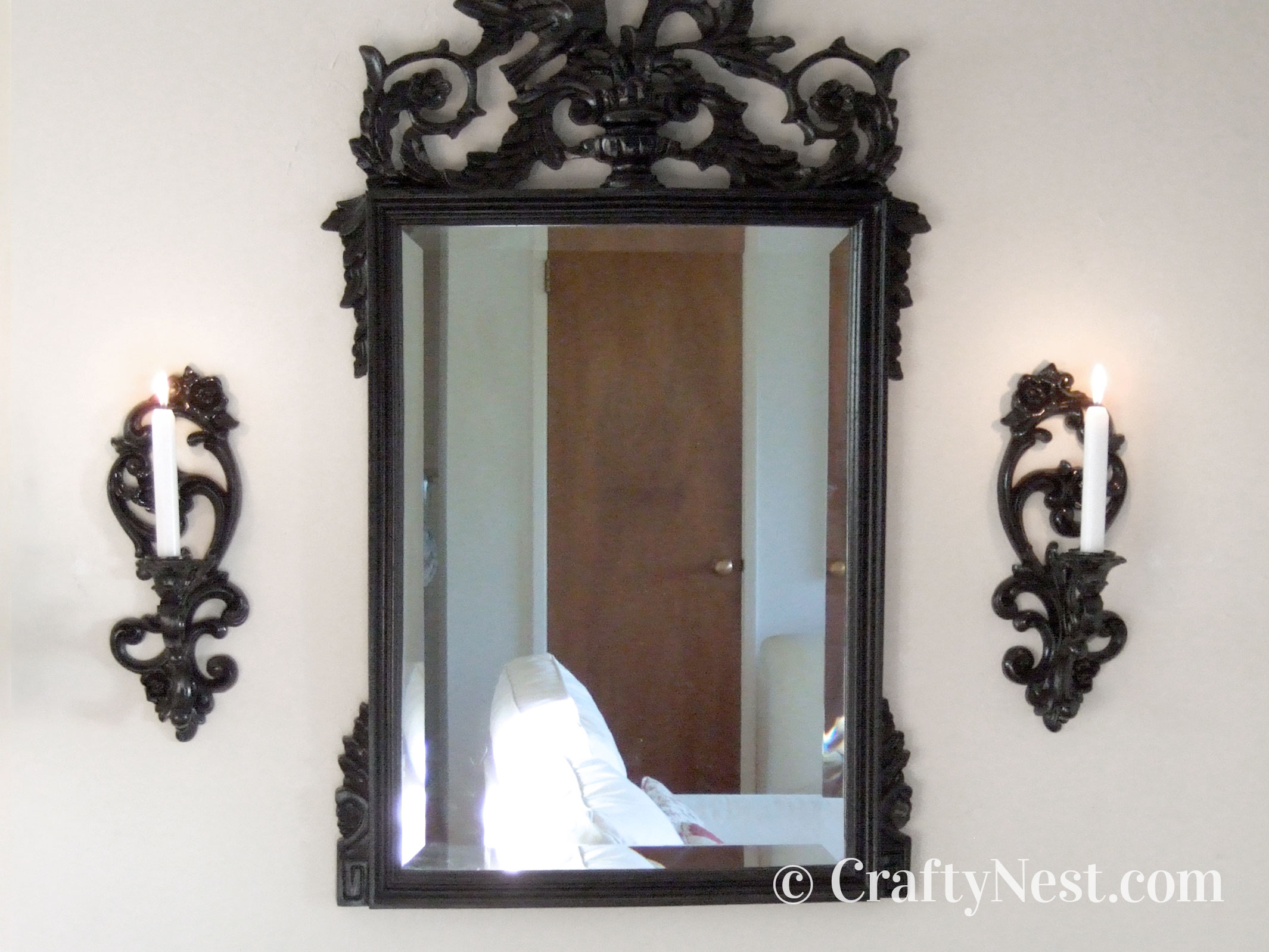 Sconces painted to match a mirror, photo
