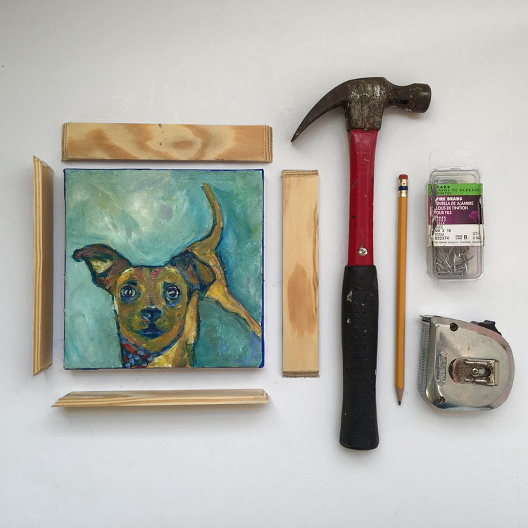 Materials to frame a canvas, photo
