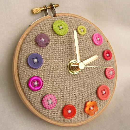 Clock made of linen, embroider hoop, and buttons, photo