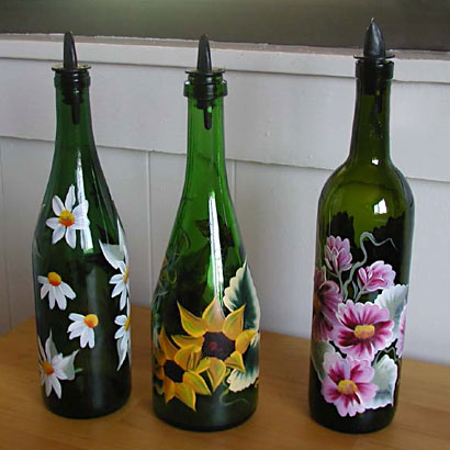 Painted wine bottles, photo