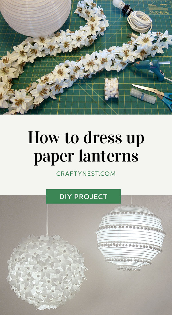 Crafty Nest two lanterns with flowers and pom poms Pinterest photo