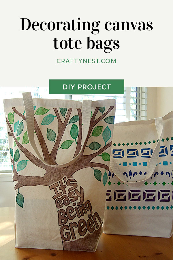 Crafty Nest decorating canvas tote bags Pinterest image