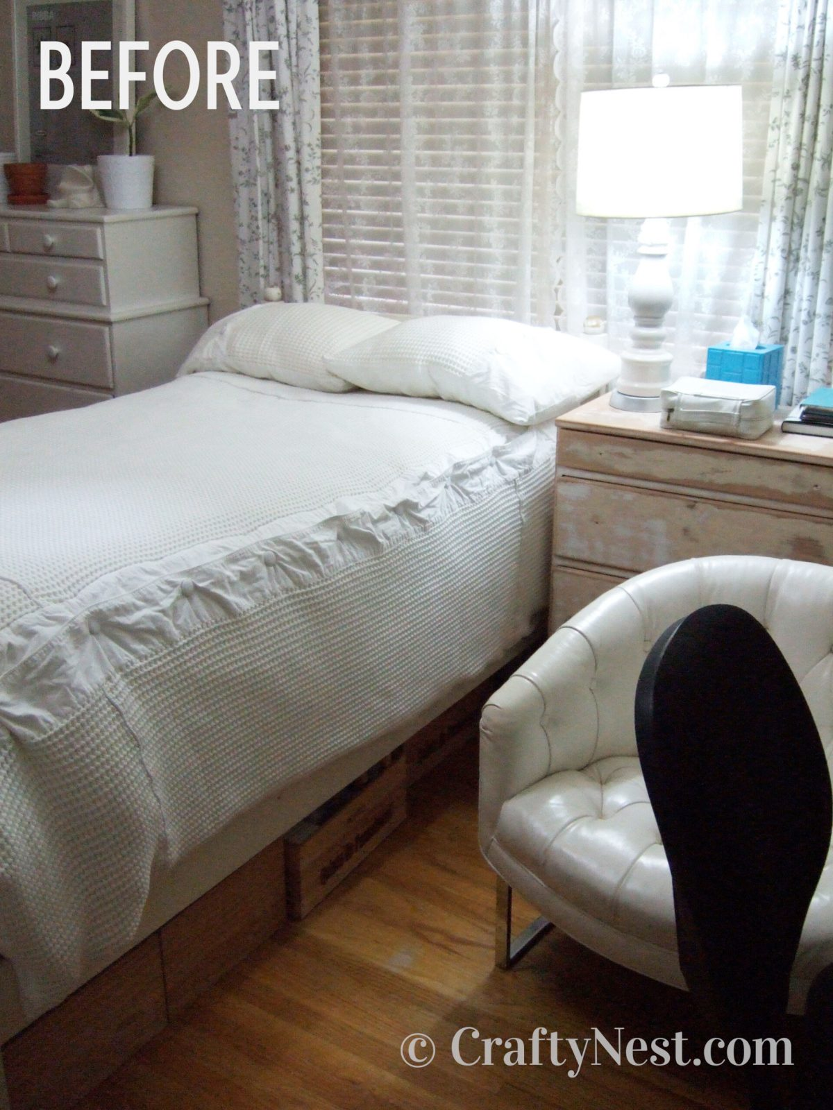 Bed and dresser, before photo