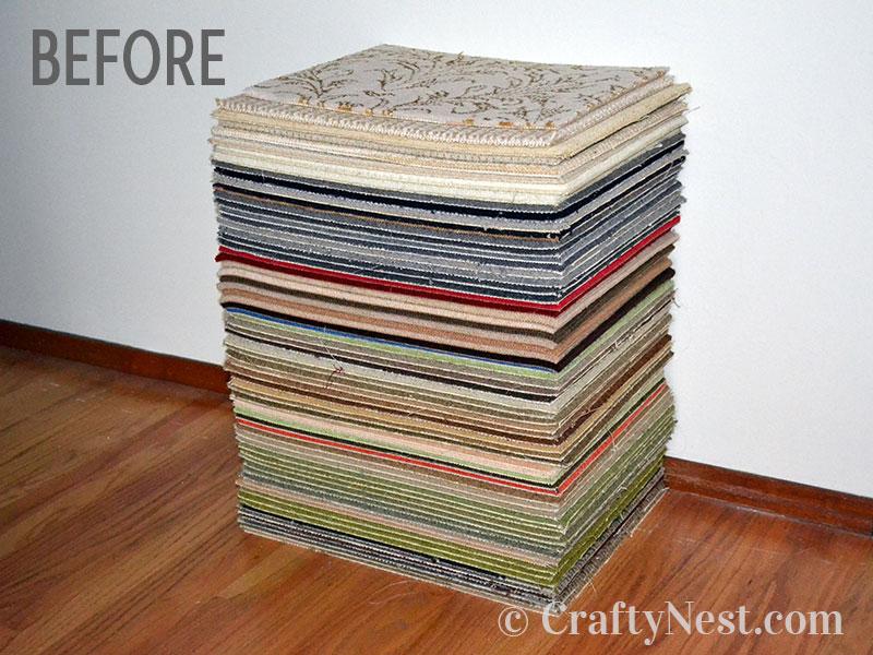 Stack of carpet samples, photo