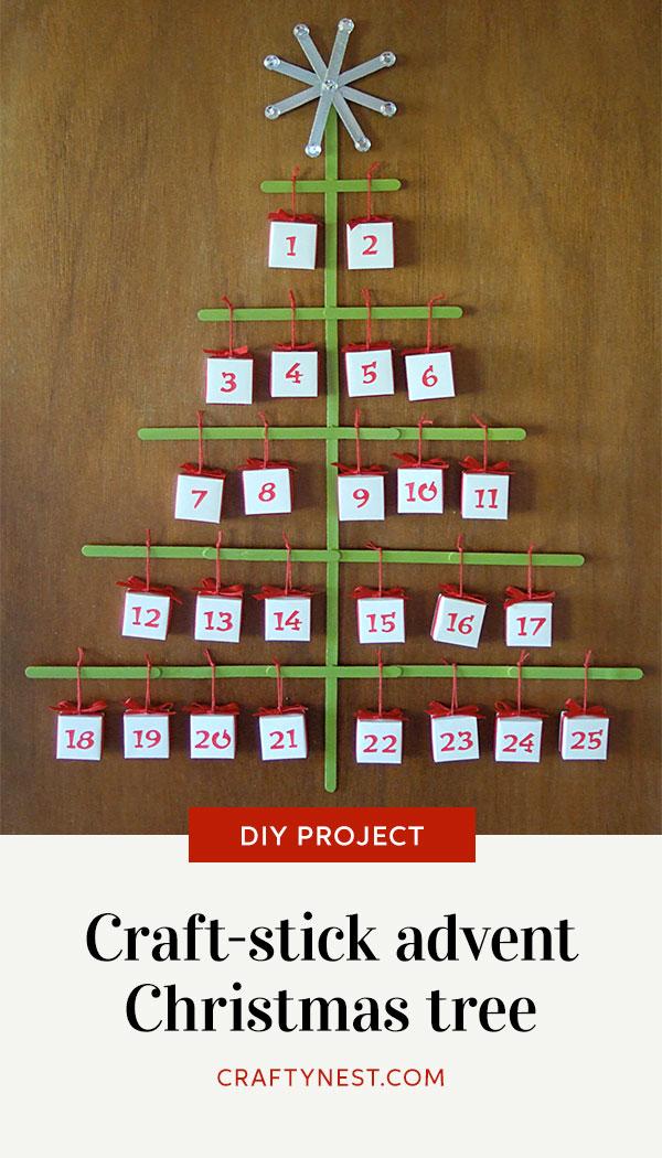 Crafty Nest craft-stick Christmas tree advent calendar Pinterest image