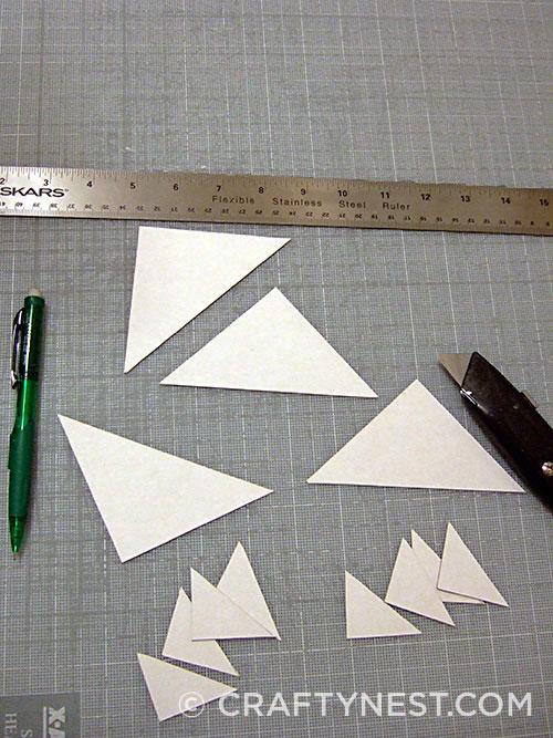 Cut cardboard triangles, photo