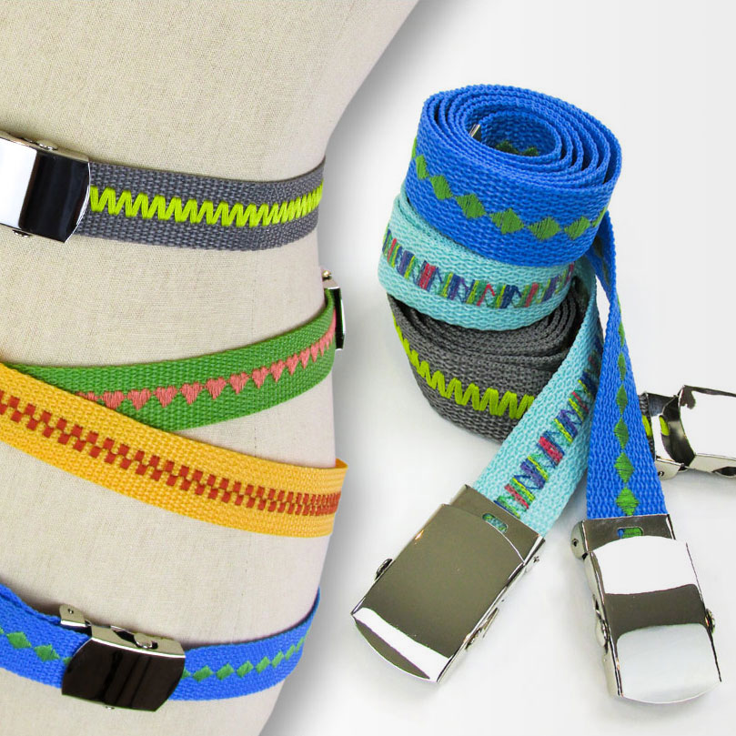Decorative stitch webbing belts, photo