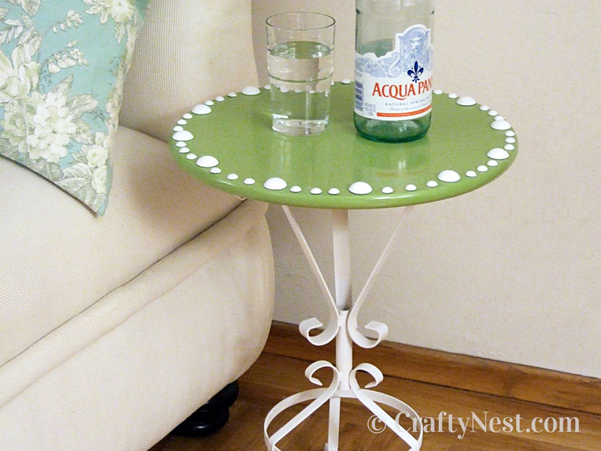 Side table made from a plant stand and Lazy Susan, photo